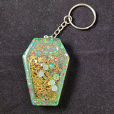 Green Coffin Shaker Keychain