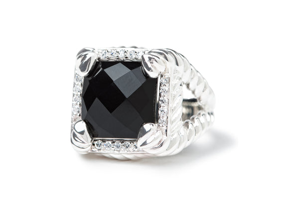 "Black ""Diamond"" Onyx ring"