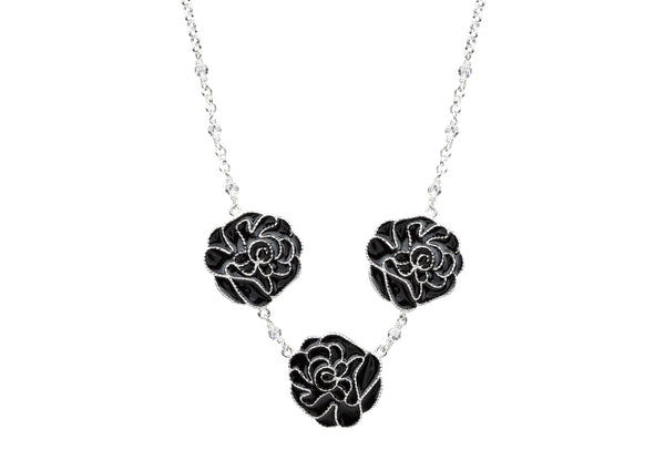 Enamel rose necklace