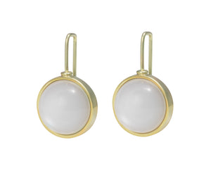 Medium round white moonstone cabochons in green gold frame and shepherd's hooks.