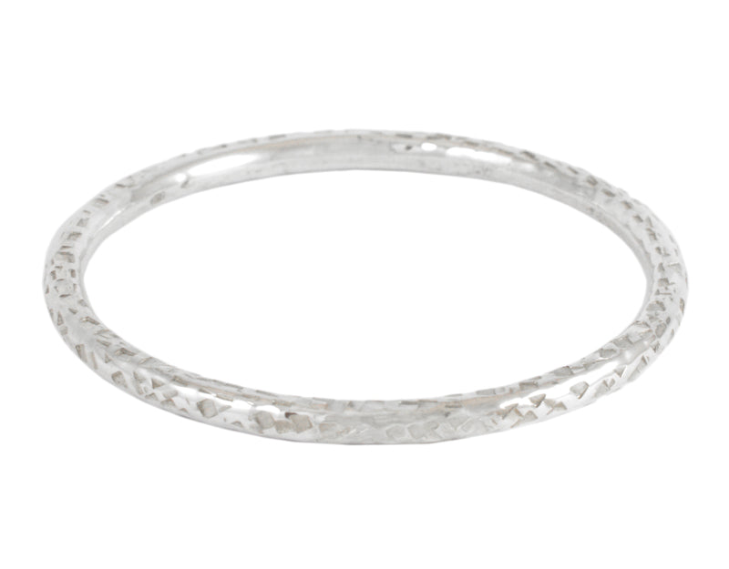 5 mm Round Bangle, Hammered