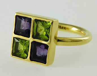 Peridot and Amethyst Ring