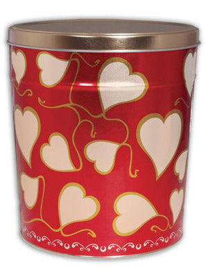 Popcorn Tin (1 Gal) - Hearts Tin