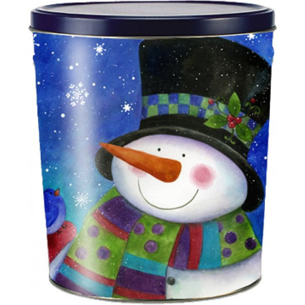 Popcorn Tin (3.0 Gal) - Top Hat Snowman