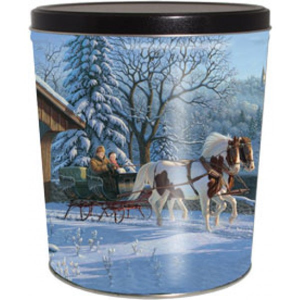 Popcorn Tin (3.0 Gal) - Winter Sleigh Ride