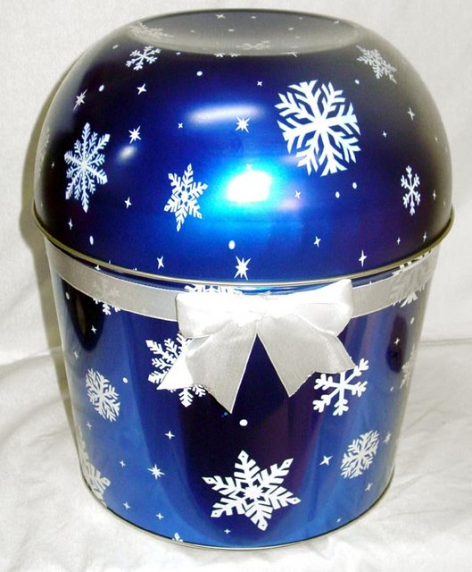 Combo Popcorn Tin (2 Gal) - Blue Snow Flake Bowl