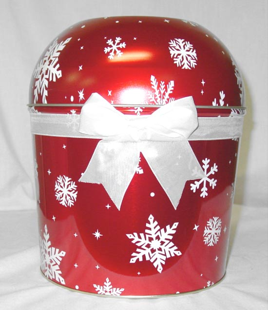 Combo Popcorn Tin (2 Gal) - Red Snow Flake Bowl