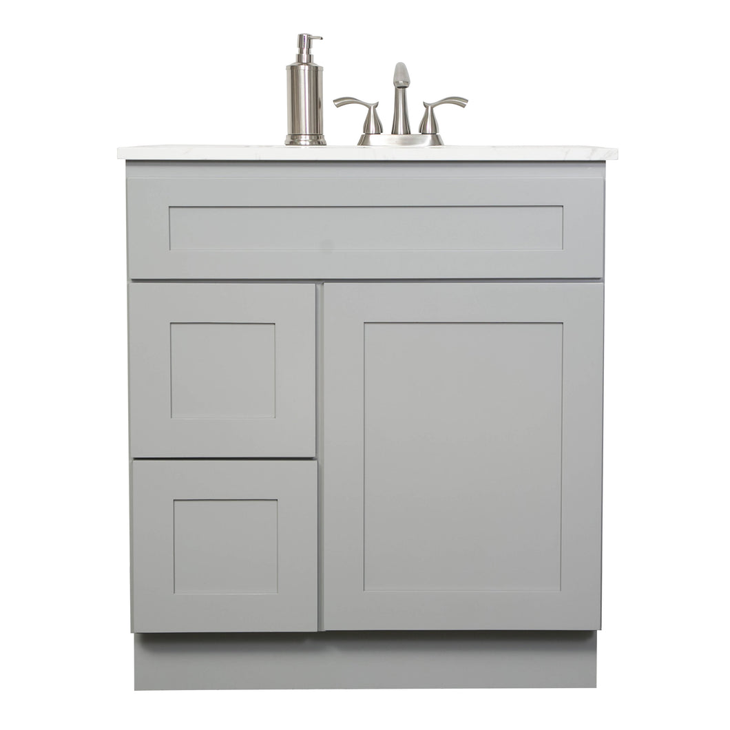 "V3021DL  30"" White or Gray shaker vanity with 2 left drawer"