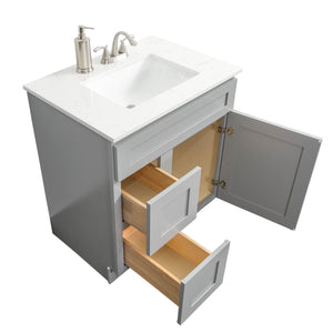 "V3621DL  36"" White or Gray shaker vanity with drawer"