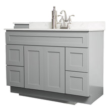"Load image into Gallery viewer, V4821D  48"" White or Gray shaker vanity with drawer"