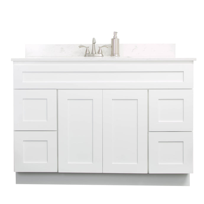 "V4821D  48"" White or Gray shaker vanity with drawer"