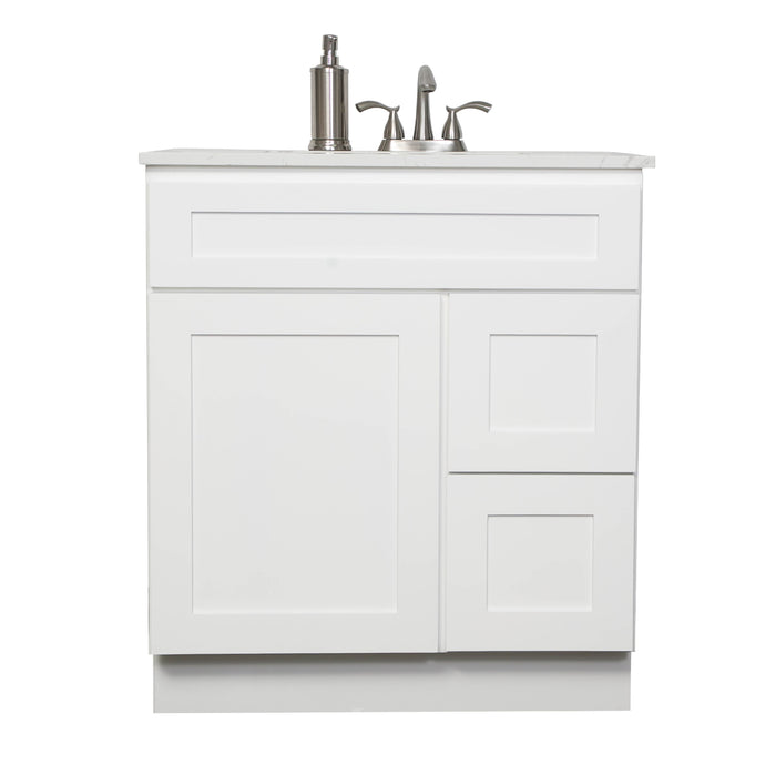 "V3021DR 30"" White or Gray shaker vanity with drawer"