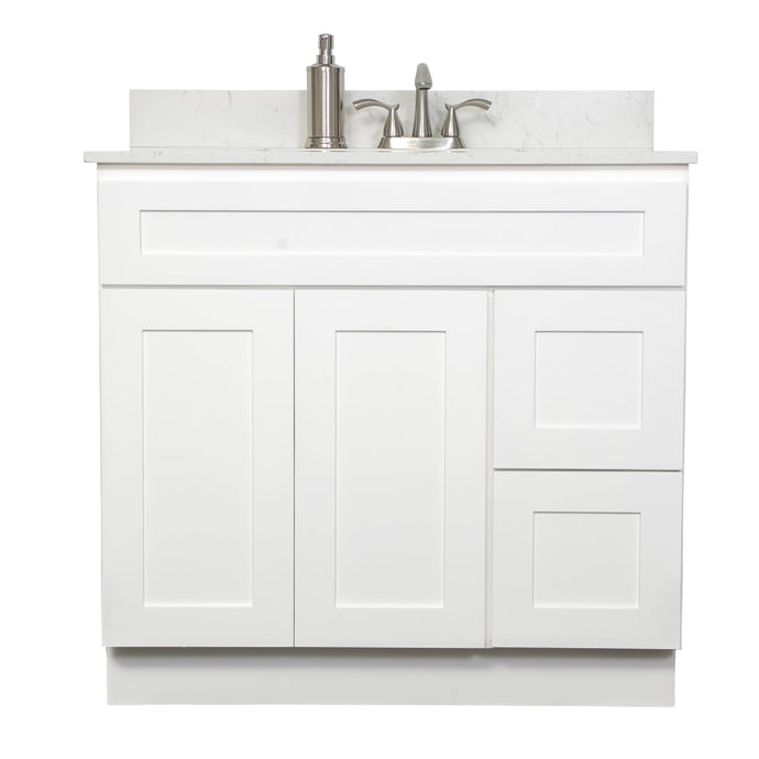 "V3621DR  36"" White or Gray shaker vanity with drawer"