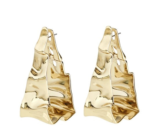 Crumpled Triangle Hoop Earrings by Alexis Bittar