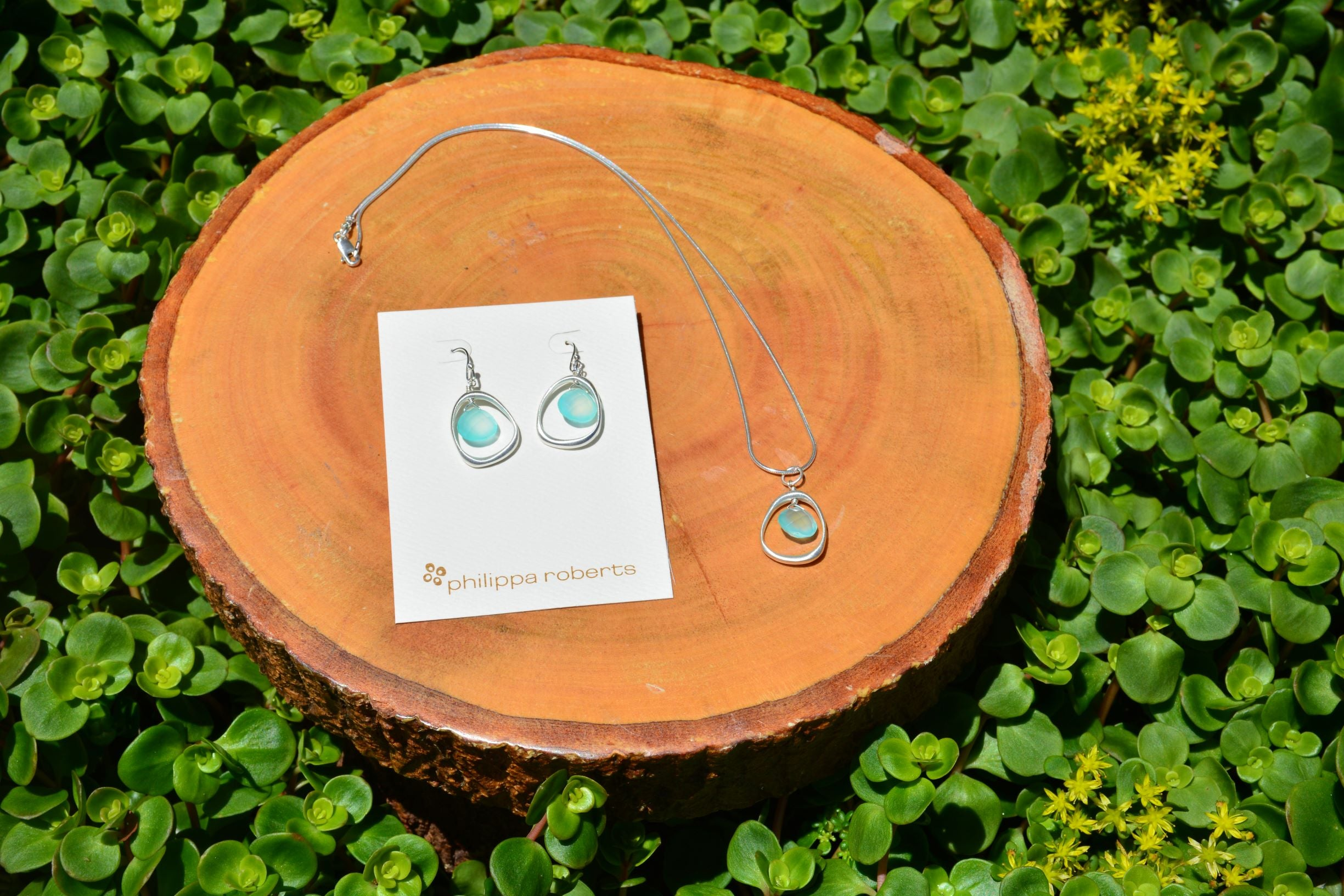 Open Circle with Chalcedony Earrings in Silver