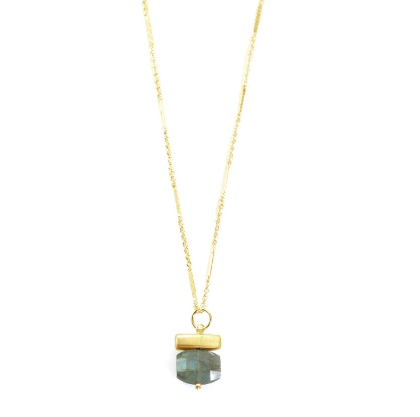 Bar with Labradorite Vermeil Necklace