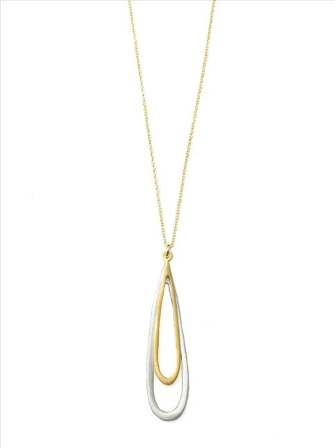 Double Open Drop Necklace in Silver and Vermeil by Philippa Roberts