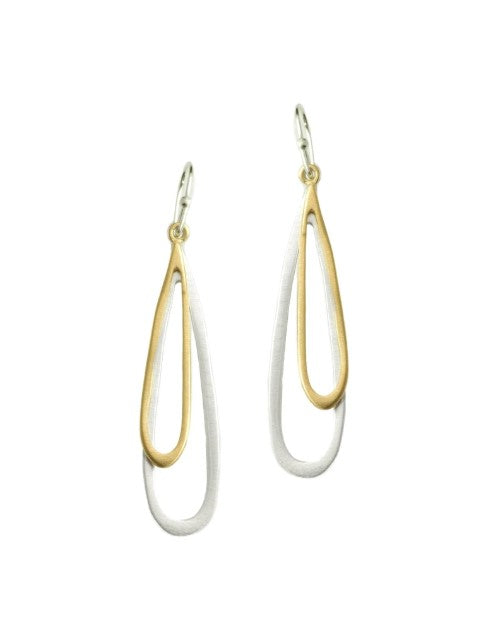 Double Open Drop Earrings in Silver and Vermeil