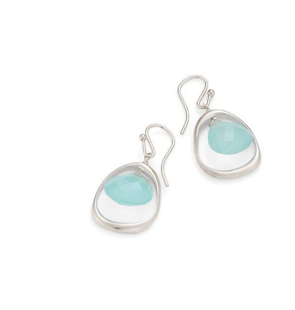 Open Circle with Chalcedony Earrings in Silver by Philippa Roberts