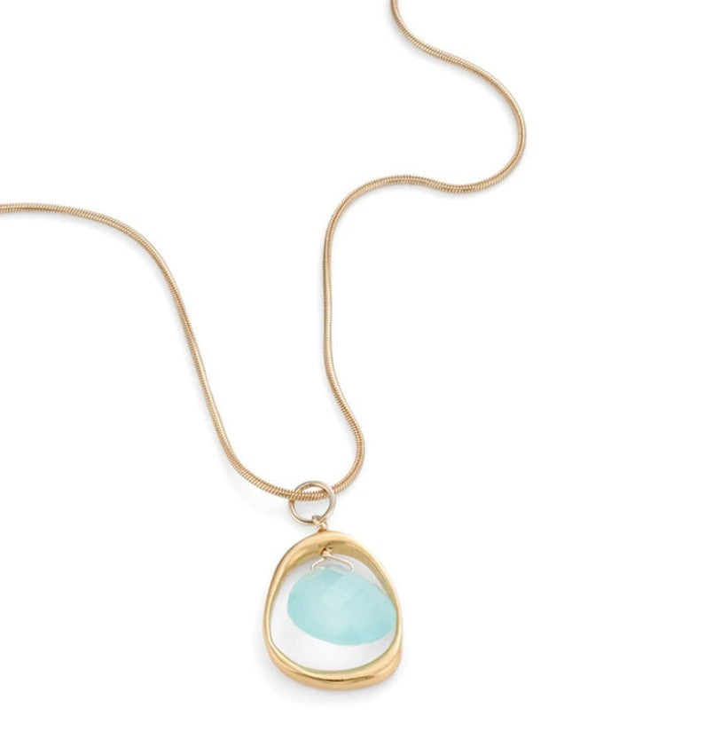 Open Circle with Chalcedony Necklace in Vermeil