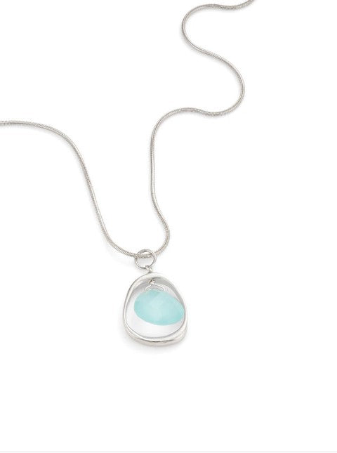 Open Circle with Chalcedony Necklace in Silver