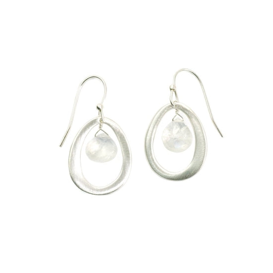 Small Oval with Moonstone Silver Earrings