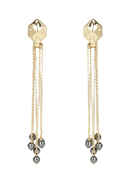 Pearl Fringe Hexagon Post Earring
