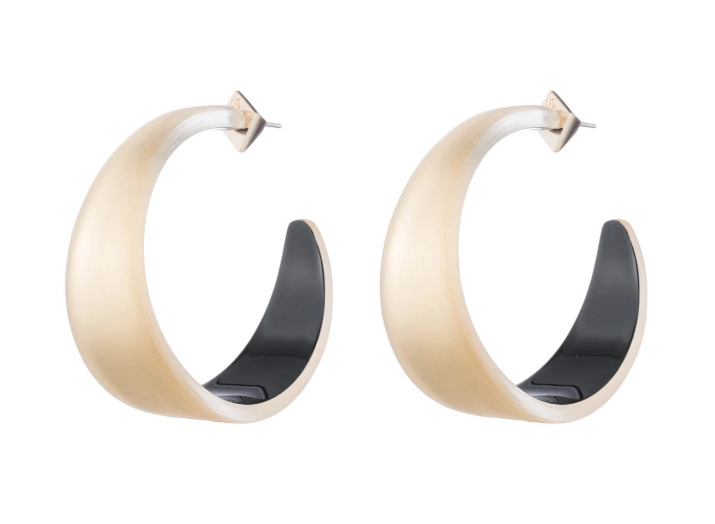 Gold Lucite Wide Hoop Earrings by Alexis Bittar