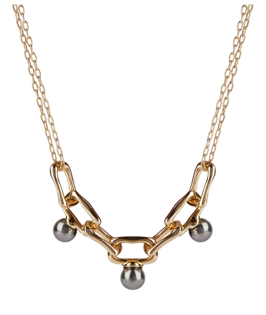 Pearl Studded Chain Link Necklace by Alexis Bittar