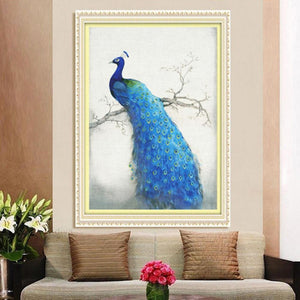 Peacock 35x50cm(canvas) partial round drill diamond painting