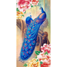 Load image into Gallery viewer, Blue Peacock 30x55cm(canvas) partial round drill diamond painting