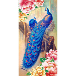 Blue Peacock 30x55cm(canvas) partial round drill diamond painting
