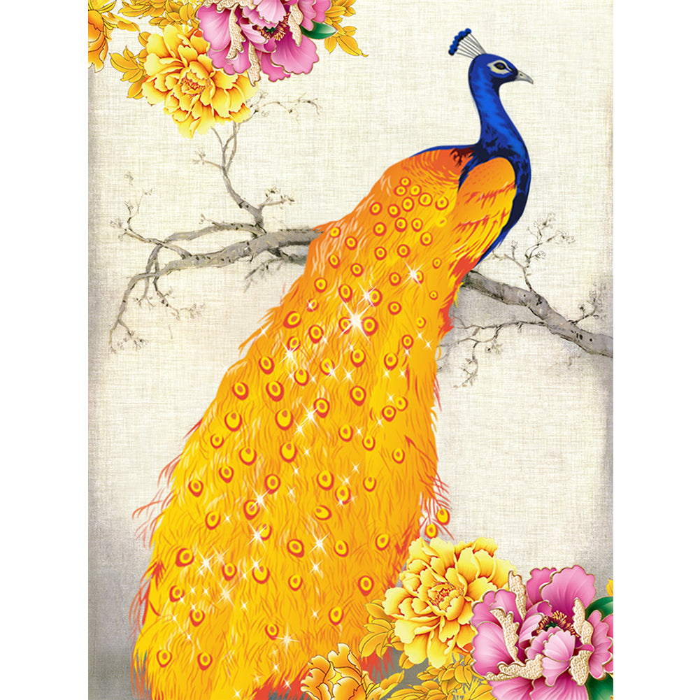 Golden Peacock 32x45cm(canvas) partial round drill diamond painting