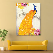 Load image into Gallery viewer, Golden Peacock 32x45cm(canvas) partial round drill diamond painting