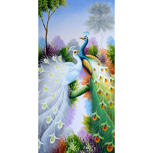 Peacock 30x55cm(canvas) partial round drill diamond painting