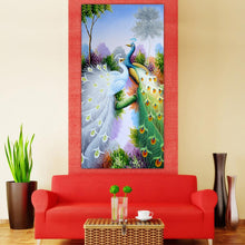 Load image into Gallery viewer, Peacock 30x55cm(canvas) partial round drill diamond painting