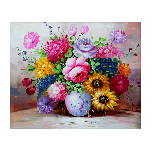 Oil Flowers 40x30cm(canvas) partial round drill diamond painting