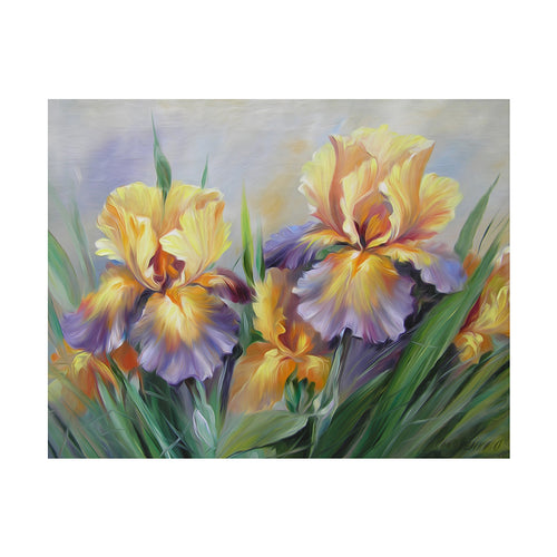 Oil Flower 45x35cm(canvas) partial round drill diamond painting