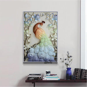 Peacock on the Branches 45x28cm(canvas) partial round drill diamond painting