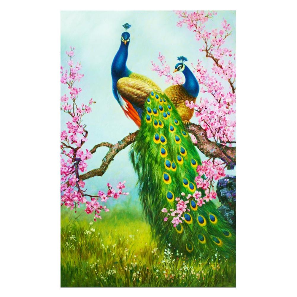 Peacock 30x54cm(canvas) partial round drill diamond painting