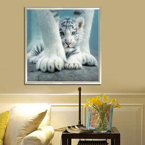 Tiger 30x30cm(canvas) partial round drill diamond painting