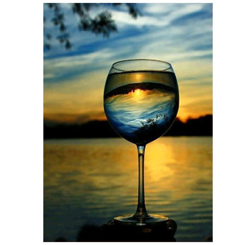 Sunset Wine Cup 30x40cm(canvas) partial round drill diamond painting