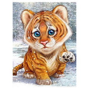 Little Tiger 20x25cm(canvas) partial round drill diamond painting