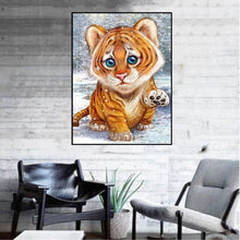 Load image into Gallery viewer, Little Tiger 20x25cm(canvas) partial round drill diamond painting