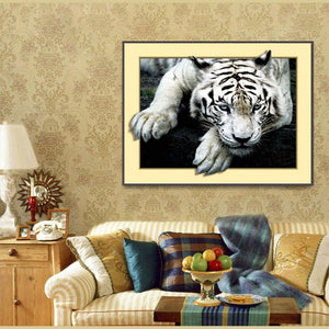 Tiger 45x35cm(canvas) partial round drill diamond painting