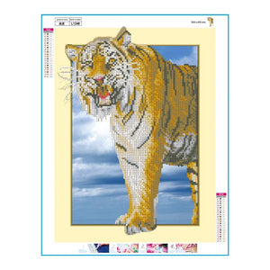Tiger 35x45cm(canvas) partial round drill diamond painting