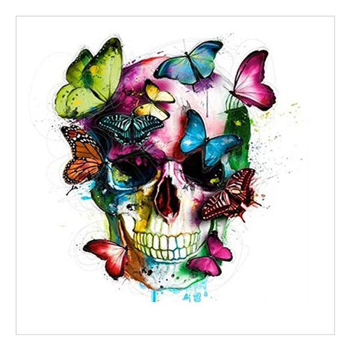 Butterfly Love Skull 35x35cm(canvas) full round drill diamond painting