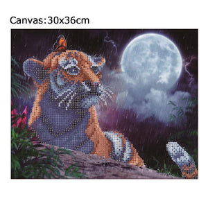 Tiger 30x36cm(canvas) partial round drill diamond painting