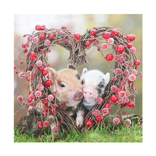 2 Heart Pigs 30x30cm(canvas) full round drill diamond painting