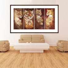 Load image into Gallery viewer, 4pcs Tiger 80x40cm(canvas) full square drill diamond painting